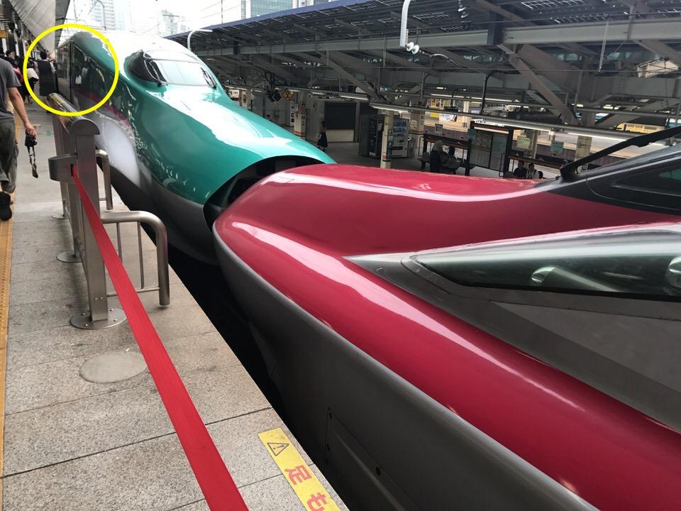 新幹線、秋田との連結部分の最前列